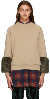 Dries Van Noten Beige Faux-Fur Cuff Sweatshirt
