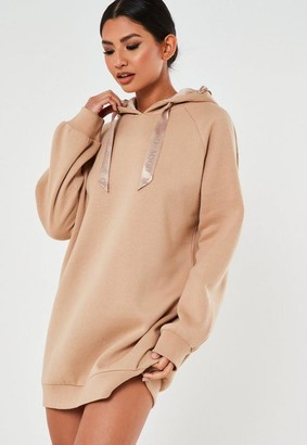 Missguided Camel Msgd Extreme Oversized Loungewear Hoodie Dress