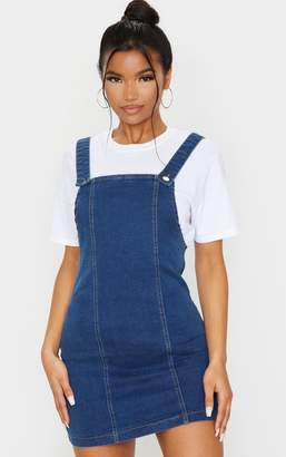 PrettyLittleThing Washed Black Pinafore Denim Dress