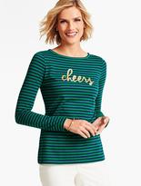 "Talbots ""Holiday Cheers"" Stripe Tee"