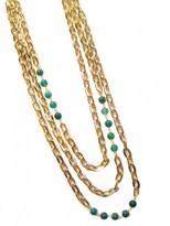 K. Amato Graduated Chain & Bead Triple Strand Necklace