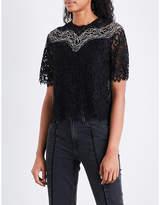 Sandro Eyelash-trim lace top