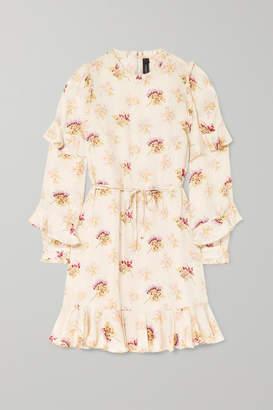 Needle & Thread Bessie Belted Ruffled Floral-print Satin Mini Dress - Cream