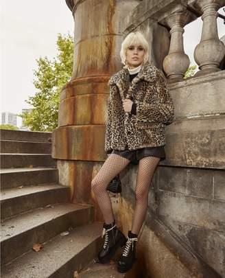 The Kooples Leopard faux fur coat with XXL collar