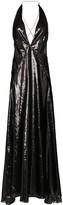 Michael Lo Sordo Alexandra sleeveless high-shine V-neck maxi dress