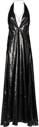 Michael Lo Sordo Alexandra sleeveless high-shine V-neck maxi dress