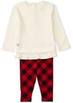 Ralph Lauren Atlantic Fleece Pullover Sweater w/ Check Leggings, Cream, Size 9-24 Months