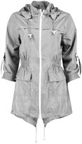 JanisRamone New Womens Plain Fishtail Parka Showerproof Raincoat Zip Mac Hooded Jacket Coat