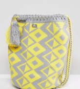 Jardin Del Cielo Wayuu Woven Backpack In Grey & Yellow