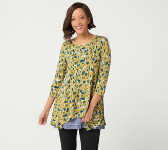 Logo by Lori Goldstein Printed Top with Solid Tank Twin Set