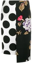 MSGM polka dot floral panelled skirt - women - Polyester/Viscose - 40