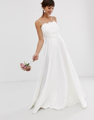 Asos Edition EDITION beaded lace cami wedding dress with satin skirt-White