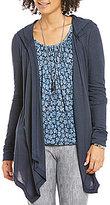 MICHAEL Michael Kors Waffle Knit Drape Front Hooded Cardigan