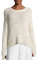 Co Raglan Crochet Tunic Sweater, Ivory