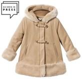 Chloé Beige Wool Coat with Faux Fur Trim