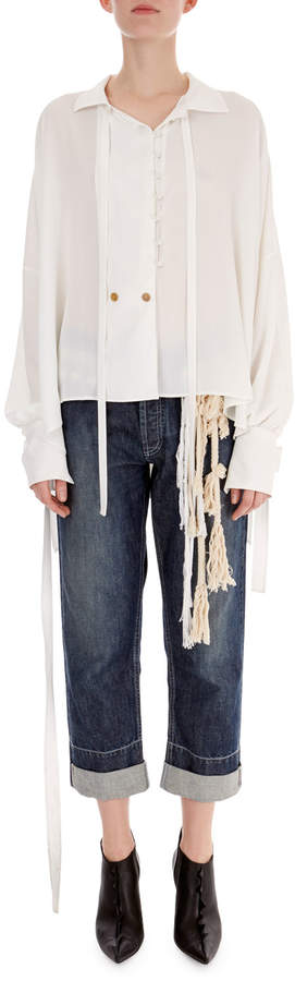 Loewe Sheer Stretch-Woven Tie-Neck Blouse