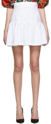 Dolce & Gabbana White Jacquard Miniskirt
