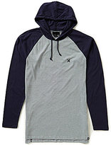 Hurley Stitched Color Blocked Horizontal-Striped Long-Sleeve Pullover Hoodie