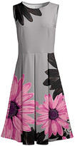 Lily Women's Casual Dresses GRY - Gray & Pink Floral Pleated Fit & Flare Dress - Women & Plus