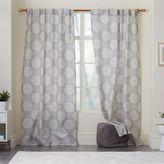 west elm Cotton Canvas Scroll Medallion Curtain - Feather Gray