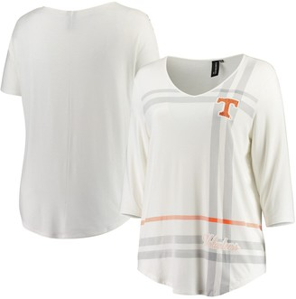 Women's White Tennessee Volunteers Plus Size Missy Plaid 3/4-Sleeve V-Neck T-Shirt