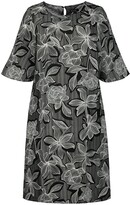 Thumbnail for your product : Ulla Popken Floral Print Shift Dress with Short Sleeves