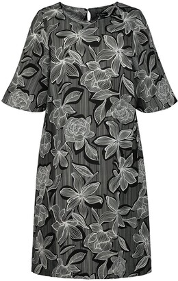 Ulla Popken Floral Print Shift Dress with Short Sleeves