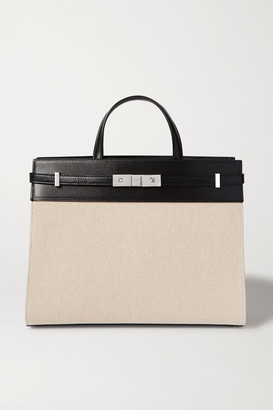 Saint Laurent Manhattan Small Leather-trimmed Canvas Tote - Neutral