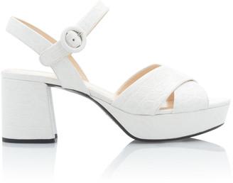 Prada Croc-Effect Leather Platform Sandals