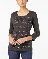 Karen Scott Studded Three-Quarter-Sleeve Top, Only at Macy's