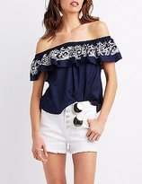 Charlotte Russe Embroidered Off-The-Shoulder Top