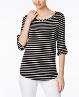 Cable & Gauge Tab-Sleeve Striped Top