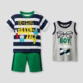 Little Rebels Toddler Boys' Genius 3 Piece Top And Bottom Set - Navy