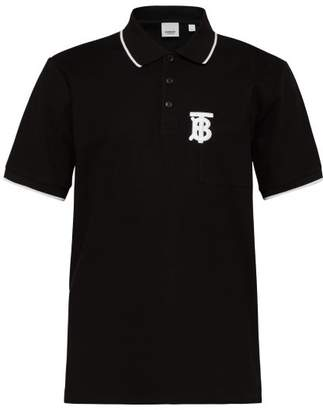 Burberry Tb Monogram Embroidered Cotton Pique Polo Shirt - Mens - Black
