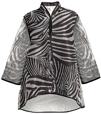 Caroline Rose, Plus Size Retro Graphic Grid Angle A-Line Jacket