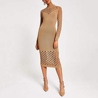 River Island Beige knitted mesh long sleeve bodycon dress