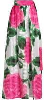 Tory Burch Pleated Floral-Print Burnout Chiffon Maxi Skirt