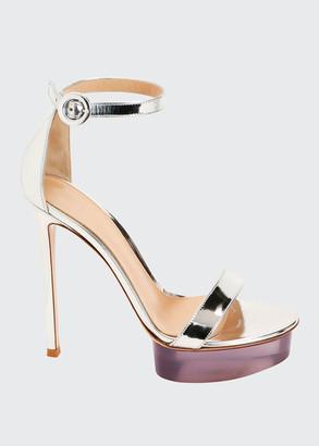 Gianvito Rossi Metallic Metal Rubber Platform Sandals