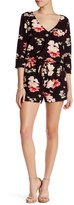 Cupcakes And Cashmere V-Neck 3/4 Sleeve Floral Romper