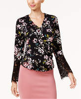 Thalia Sodi Lace-Sleeve Faux-Wrap Top, Created for Macy's