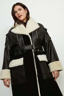 Karen Millen Curve Leather Shearling Mix Trench