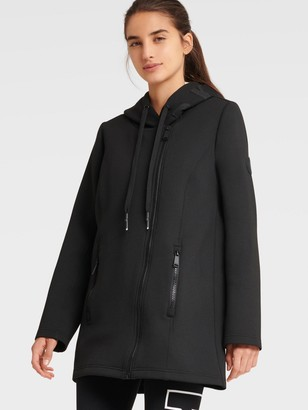 DKNY Women's Asymmetrical Jacket With Logo Hood - Black - Size XS