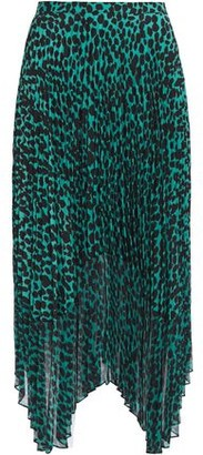Markus Lupfer Lila Pleated Leopard-print Crepe De Chine And Chiffon Midi Skirt