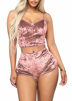 Smile Fish Women's Velvet Spaghetti Strap Cami Top And Shorts Sexy Pajama Sets Lounge Wear(Pink S)