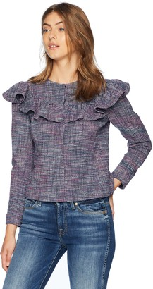 Rebecca Taylor Women's Stretch Tweed Ruffle Jacket