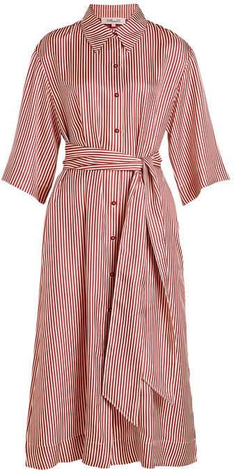 Diane von Furstenberg 3/4 Sleeve Belted Shirt Dress