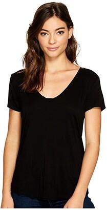 Splendid Sloane Short Sleeve Rayon Jersey Scoop Neck Tee (Black) Women's Clothing