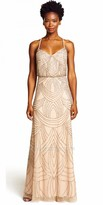 Adrianna Papell Delicate Beaded Blouson Evening Dress