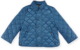 Burberry Luke Quilted Snap-Front Jacket, Bright Steel Blue, Size 6M-3Y
