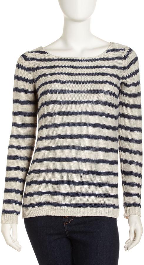 Vince Striped Linen Sweater, Parchment/Coastal
